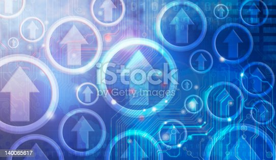 185317823 istock photo Blue graphic design of arrows pointing upwards in circles 140065617