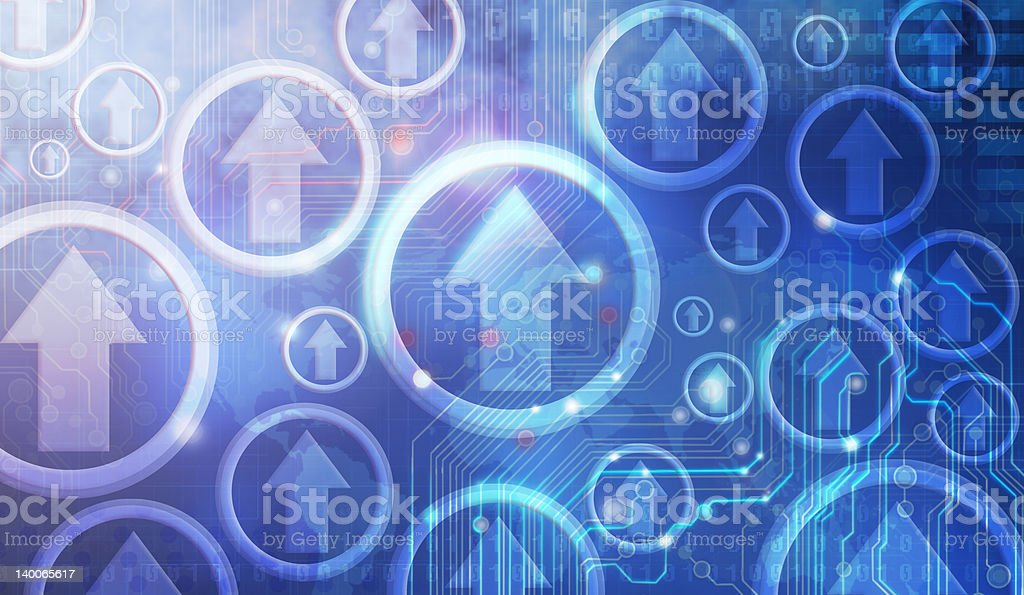 Blue graphic design of arrows pointing upwards in circles stock photo