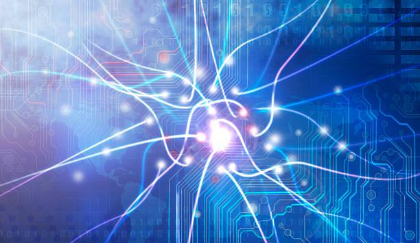 Blue graphic futuristic image of energy stock photo