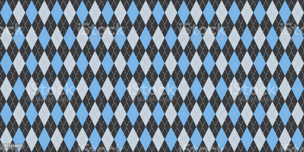 Blue Gray Seamless Argyle Pattern. Retro Fabric Background. Traditional Rhombus Diamond Textile Texture. stock photo