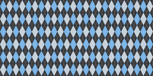 블루 회색 원활한 아가일 패턴입니다. 레트로 패브릭 배경입니다. 전통적인 마름모 다이아몬드 섬유 짜임새입니다. 스톡 사진
