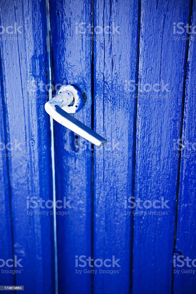 Blue Greek door on Santorini royalty-free stock photo