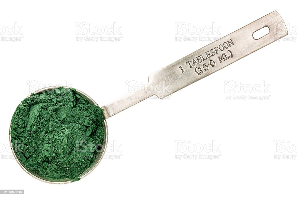 blue green algae powder stock photo