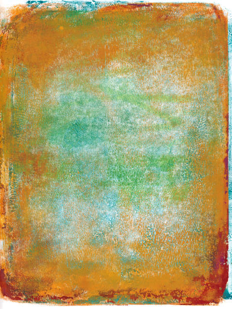 Blue green and orange hand painted grungy background stock photo