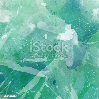 852187968 istock photo Blue green and white watercolor background illustration with paint spatter blotches and drips and watercolor wash texture design, blue green color splash layout 1252423283