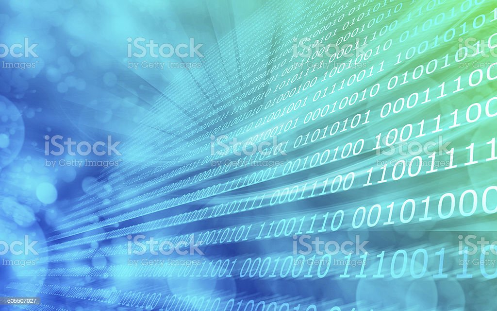 Blue green background binary code stock photo