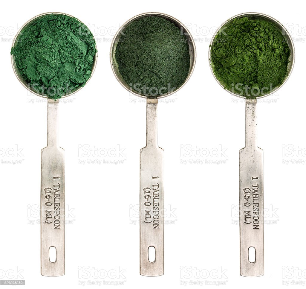 blue green, chlorella and spirulina stock photo