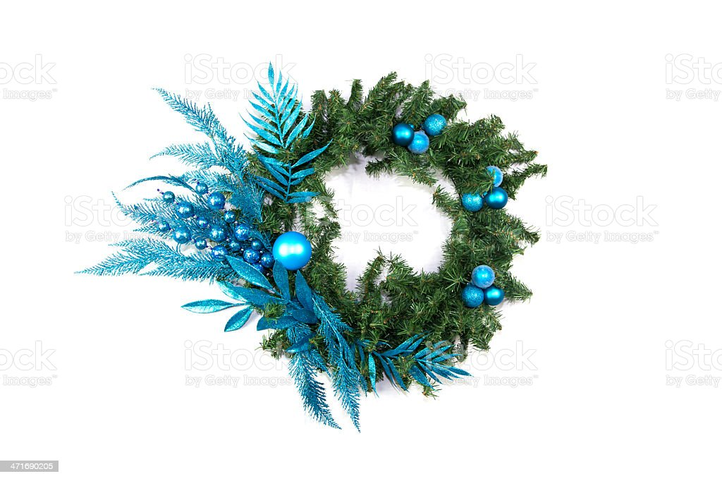 Blue Green Christmas Wreath royalty-free stock photo