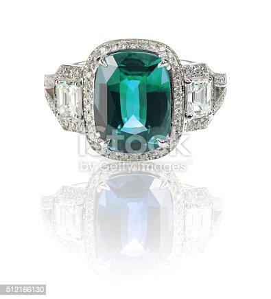 istock Blue Green Emerald Aquamarine precious gemstone and diamond ring 512166130