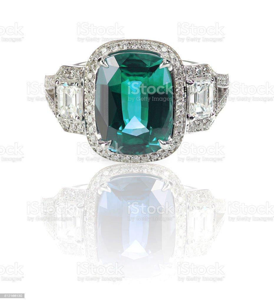 Blue Green Emerald Aquamarine precious gemstone and diamond ring stock photo