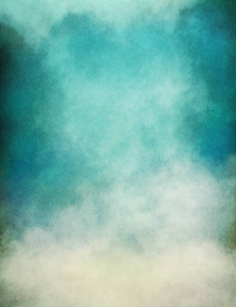Blue Green Fog Rising fog and clouds on a paper background.  Image displays significant paper grain and texture at 100 percent.  (Note: Image is a combination of both digital and scanned source media.) atmospheric mood stock pictures, royalty-free photos & images