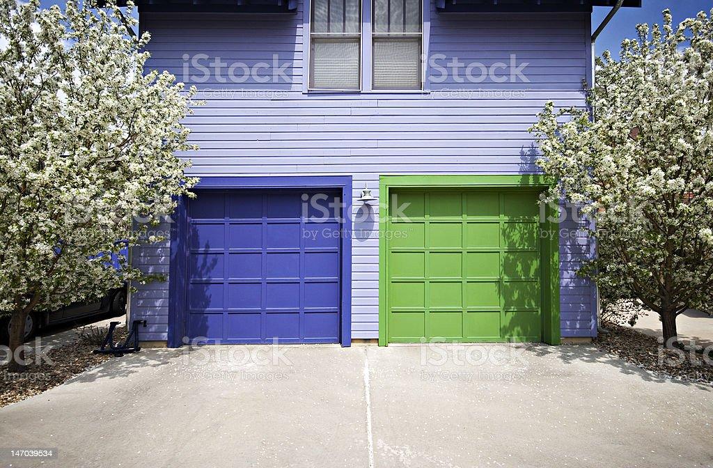 Blue & Green Garage Doors stock photo