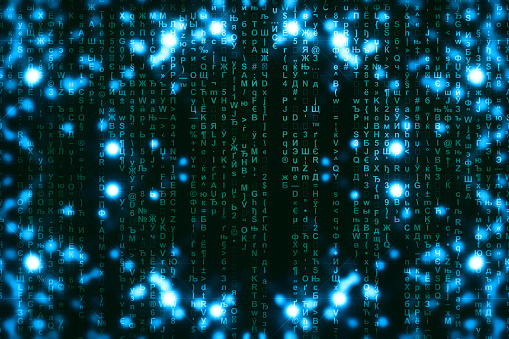 848353924 istock photo Blue green matrix digital background. Abstract cyberspace concept. Green characters fall down. Matrix from symbols stream. Virtual reality design. Complex algorithm data hacking. Cyan digital sparks. 1139434034