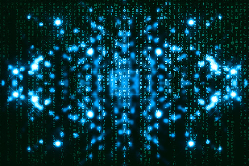848353924 istock photo Blue green matrix digital background. Abstract cyberspace concept. Green characters fall down. Matrix from symbols stream. Virtual reality design. Complex algorithm data hacking. Cyan digital sparks. 1139434048