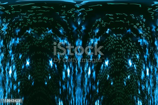 848353924istockphoto Blue green matrix digital background. Distorted cyberspace concept. Green characters fall down. Matrix from symbols stream. Virtual reality design. Complex algorithm data hacking. Cyan digital sparks. 1139434031