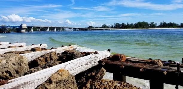 Blue Green Ocean Waters Near a Wooden Pier/Dock stock photo