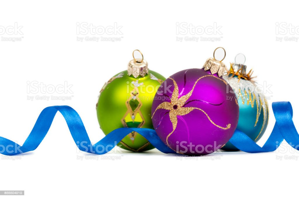 blue green purple new year balls on white background stock photo