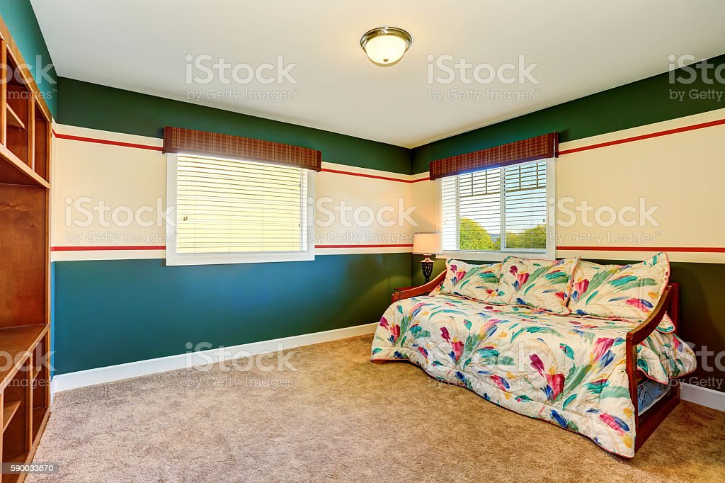 Blue Green Sitting Room With Beige Carpet And Colorful Sofa Stock Photo Download Image Now Istock