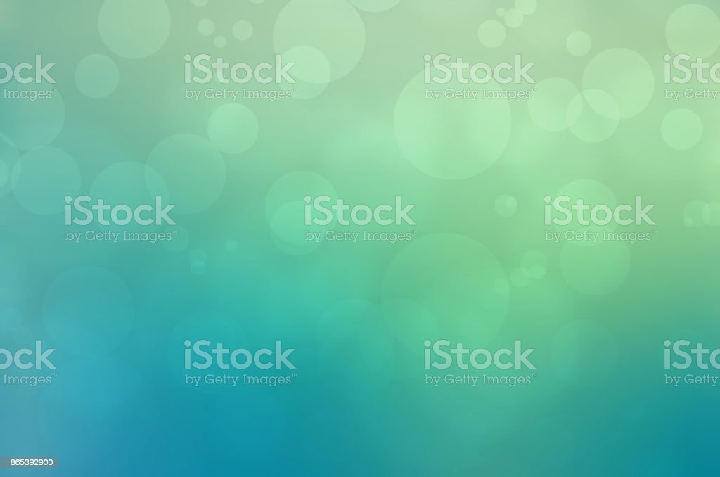 Blue green soft blurred background with bubble, bokeh effect stock photo