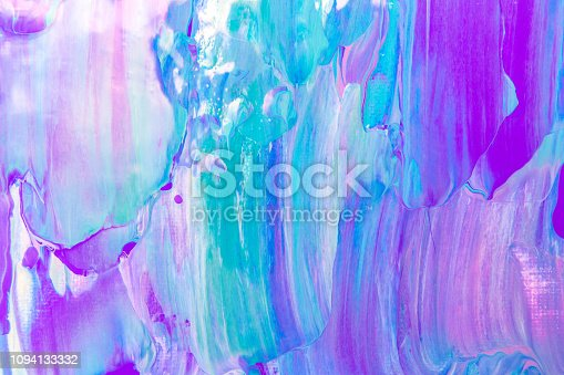 Blue, green, teal, pink and purple abstract background art on artists canvas, painted with palette knife