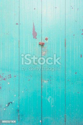 istock blue green texture background of old wooden door 888397906