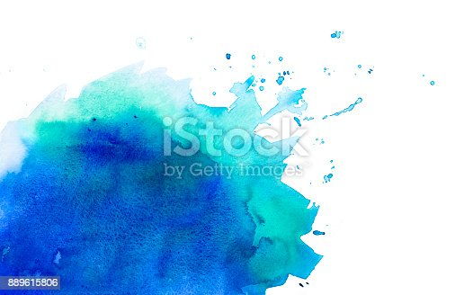 istock Blue / Green watercolor background with splashes 889615806