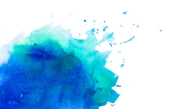 Blue / Green watercolor background with splashes stock photo
