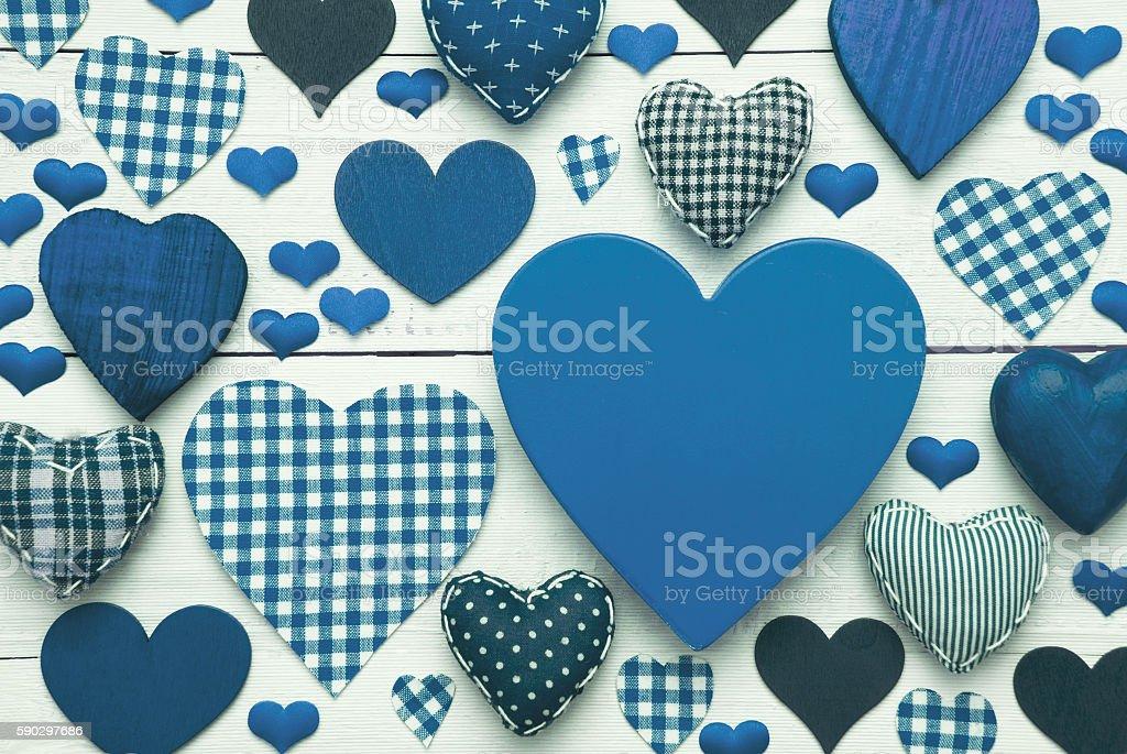Blue Greeting Card With Heart Texture, Copy Space royaltyfri bildbanksbilder
