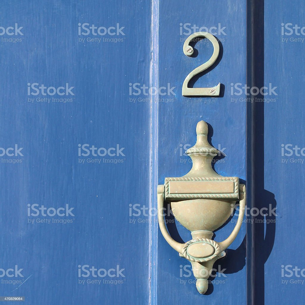 Blue Grey Door stock photo