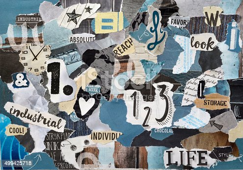 istock blue grey mood board collage sheet made of teared magazines 499425718