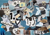 blue grey mood board collage sheet made of teared magazines