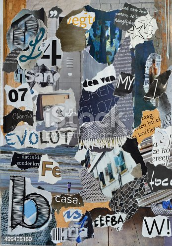 istock blue grey mood board collage sheet made of teared magazines 499426160