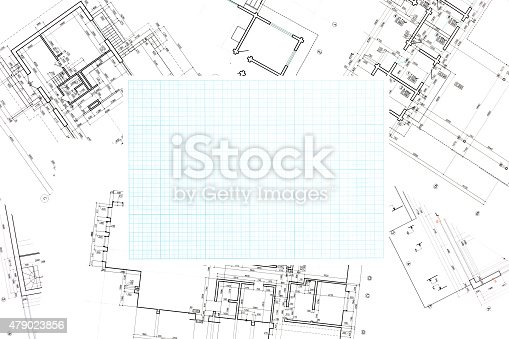 479022506 istock photo blue grid graph paper with blueprints background 479023856