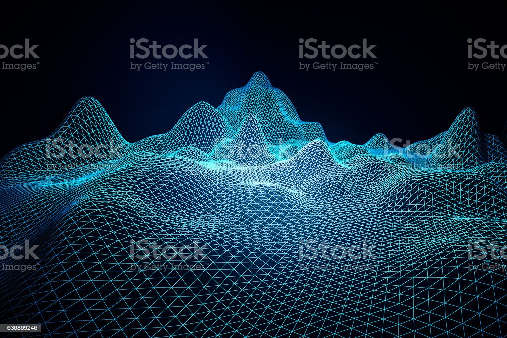 Blue grid waves stock photo