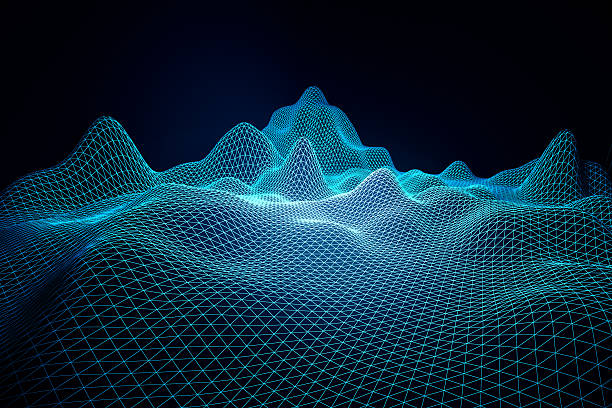 blue grid waves - audio wave stock photos and pictures