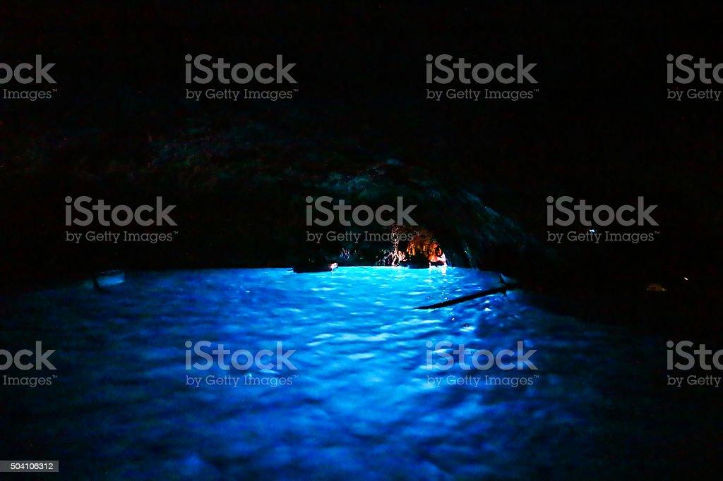Blue grotto in Capri island stock photo