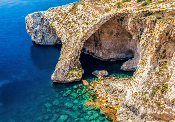 Blue Grotto in Malta stock photo