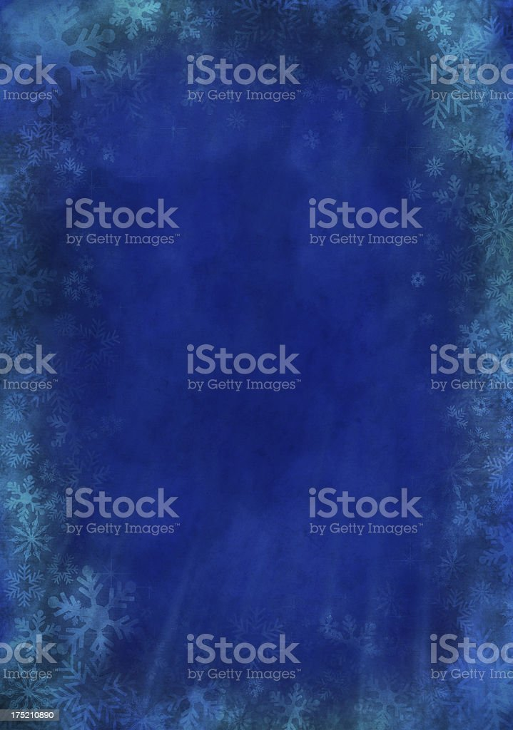 Blue Grunge Christmas Paper With Snowflakes royalty-free stock photo