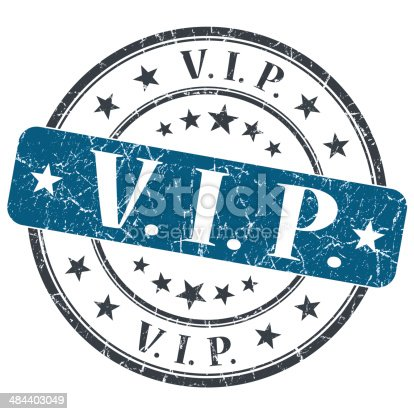 istock VIP blue grunge round stamp on white background 484403049