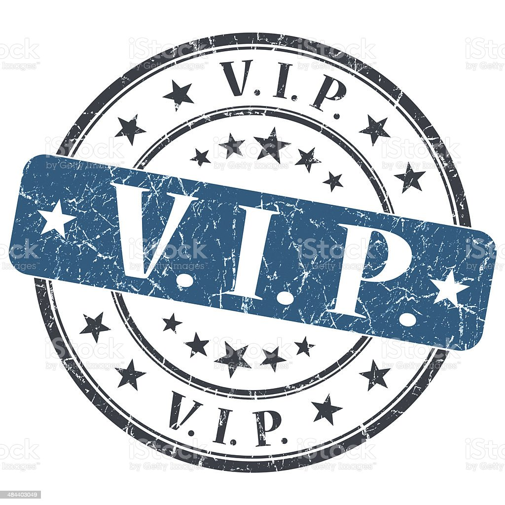 VIP blue grunge round stamp on white background stock photo