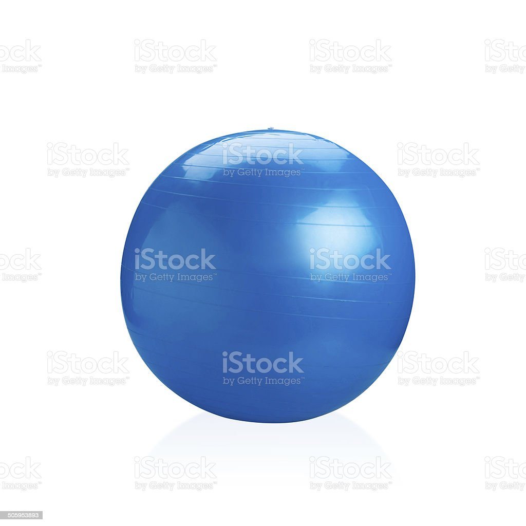 Blue gyms ball or yoga ball isolated stock photo