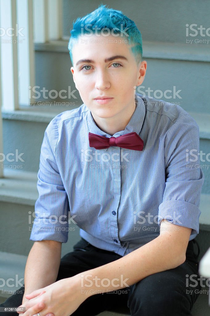 Blue Hair and Bow Tie stock photo