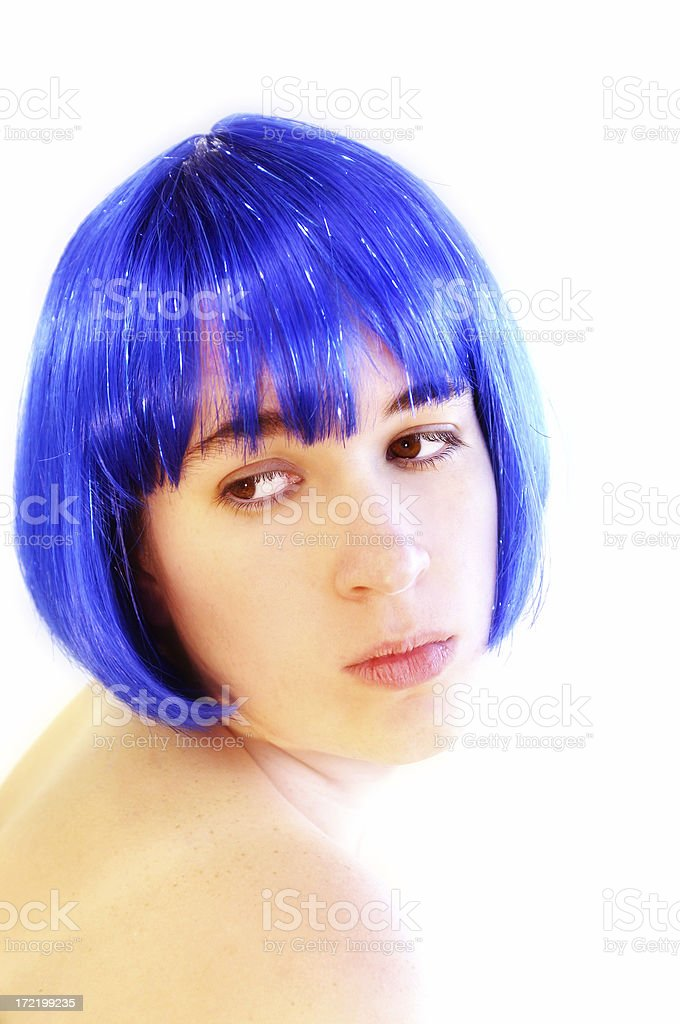 Blue Haired Chick stock photo