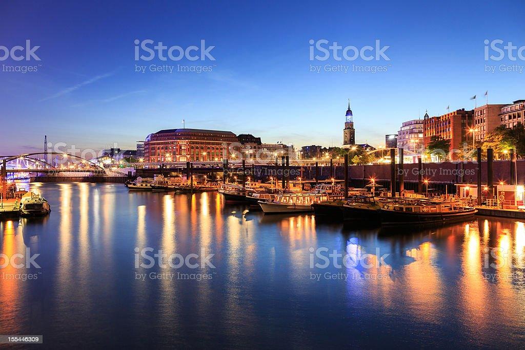 Blue Hamburg harbour stock photo