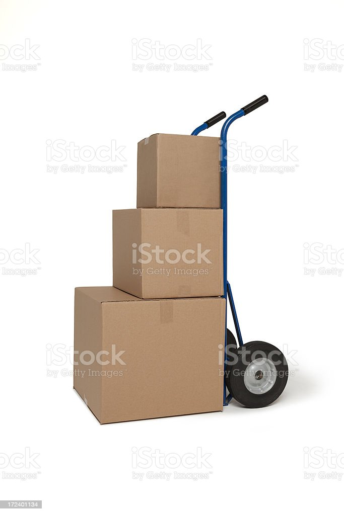 Blue Hand cart truck with three boxes stock photo