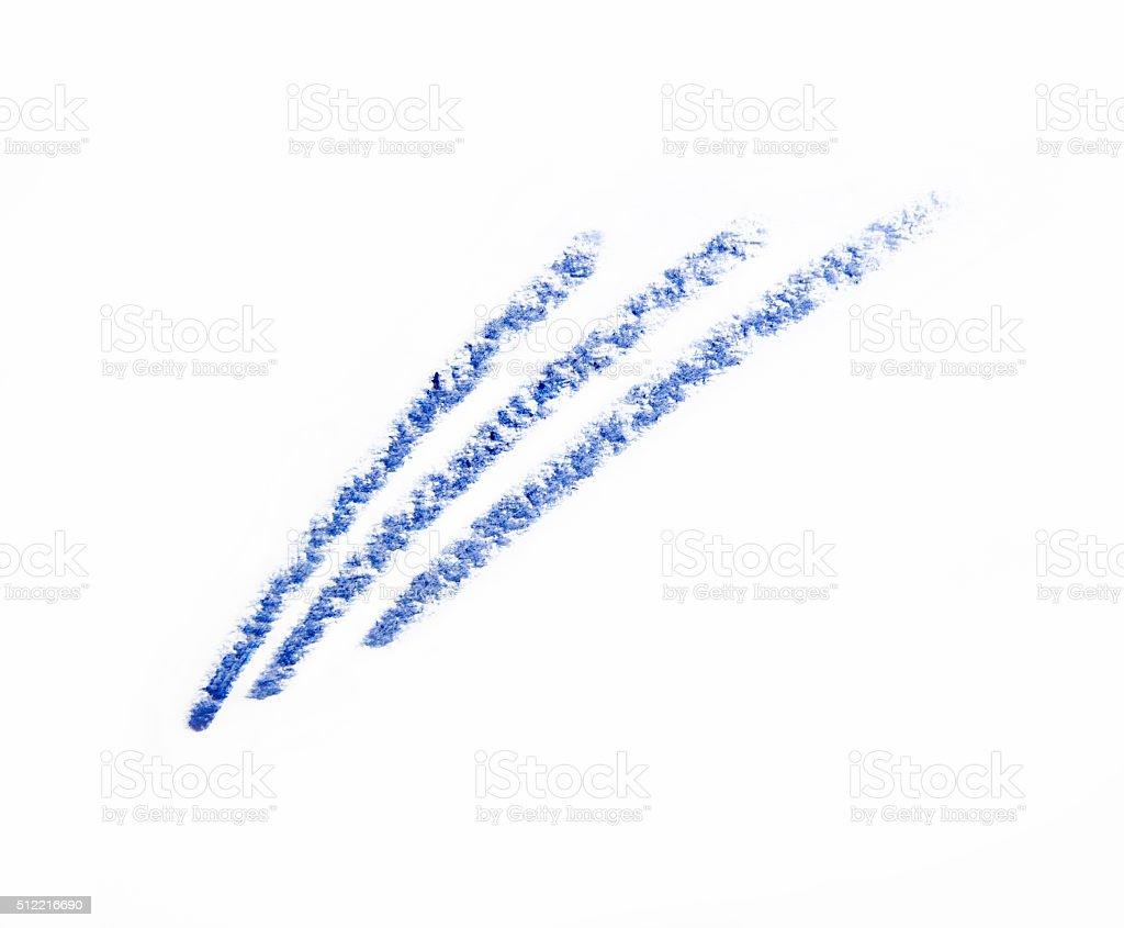 blue hand drawn eye pencil line on white background stock photo
