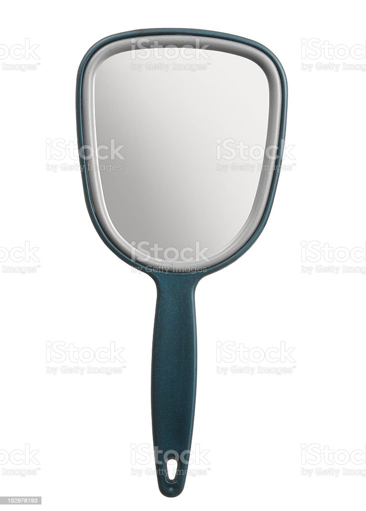A blue hand held mirror on a white background stock photo