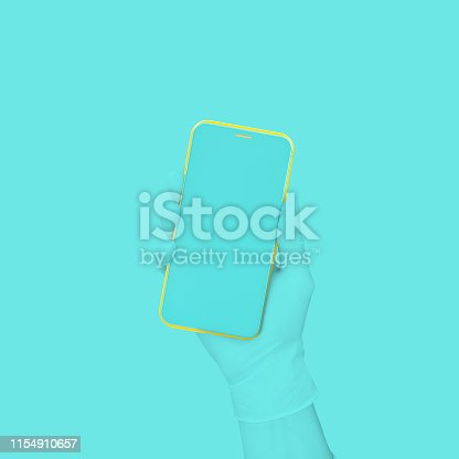 istock Blue hand holding phone blue and yellow color mock-up. 1154910657