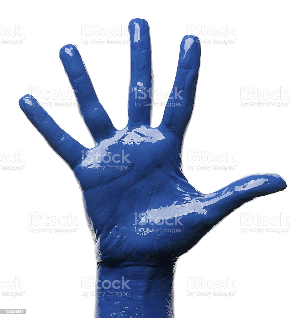 blue hand stock photo