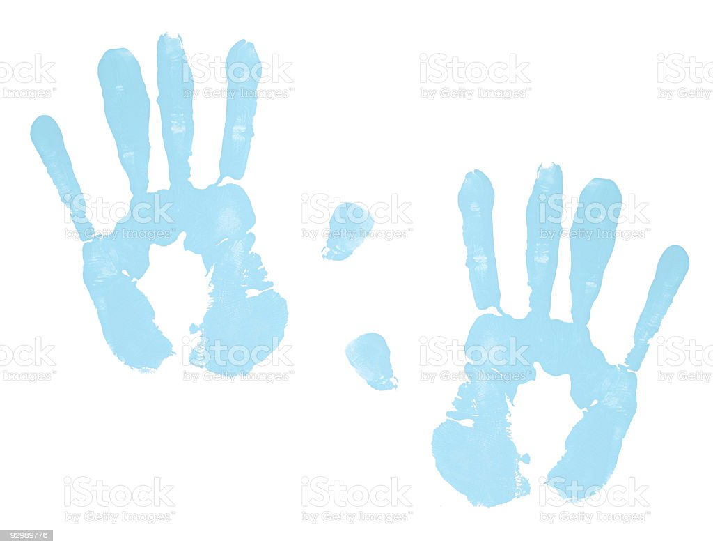 Blue Hand Prints stock photo